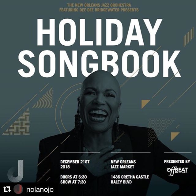 FRIDAY! #Repost @nolanojo with @get_repost ・・・ Friday 12/21 OffBeat Magazine Presents Holiday Songbook Joining NOJO on stage is Grammy and Tony Award-winning vocalist @deedeebridgewater! Over the course of a multifaceted career spanning four decades, Grammy and Tony Award-winning Jazz giant Dee Dee Bridgewater has ascended to the upper echelon of vocalists, putting her unique spin on standards, as well as taking intrepid leaps of faith in re-envisioning jazz classics. Follow link in bio for tickets.