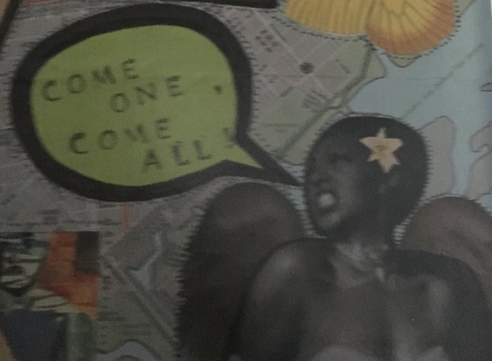 """COME ONE, COME ALL! by STACEY CUEVAS [Plywood, paper, ink, matte medium], 16""""X16"""", 2012"""