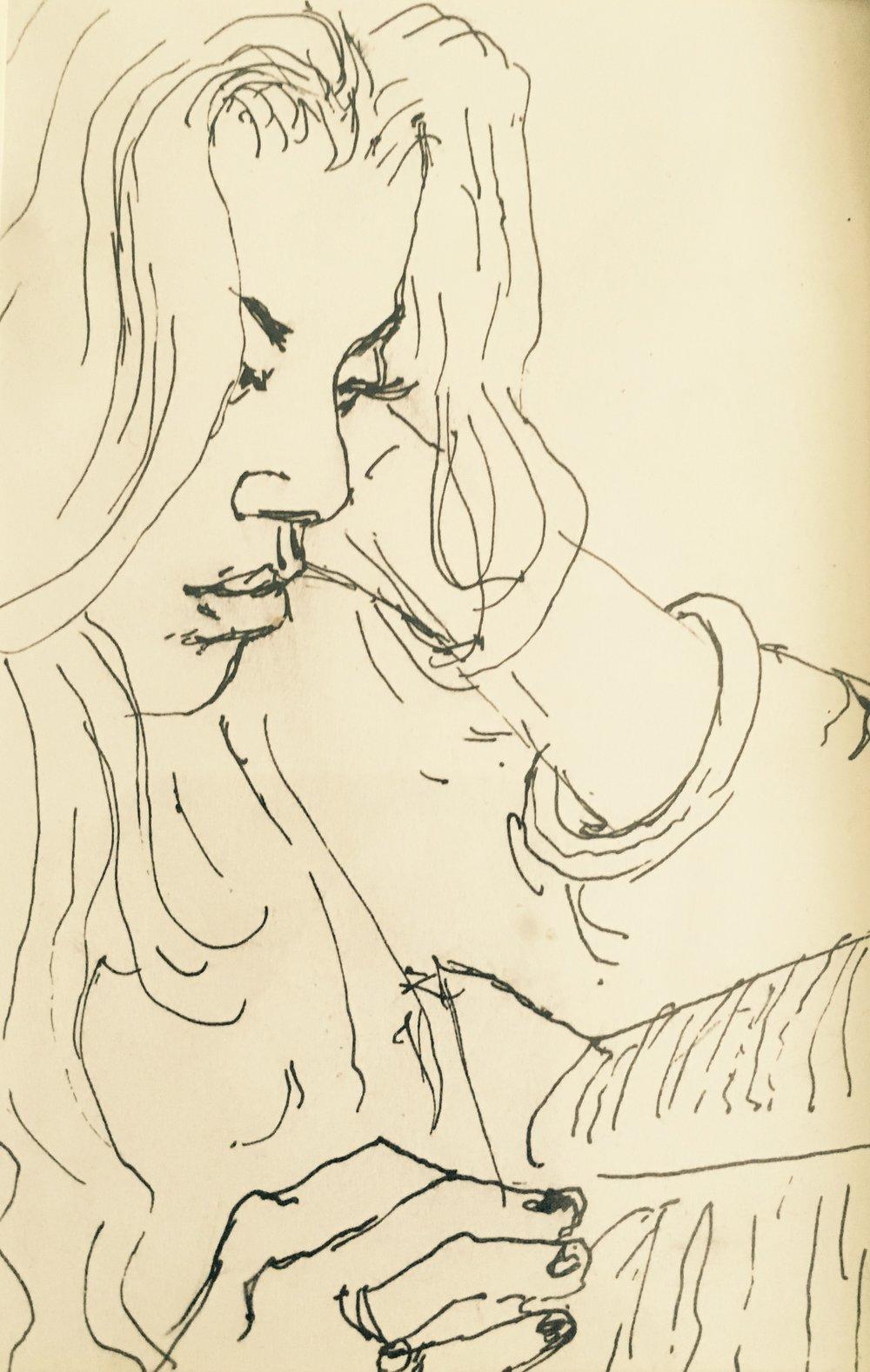 FIVE MINUTE SKETCH by Noah Hilsenrad [moleskine, ink], 2013