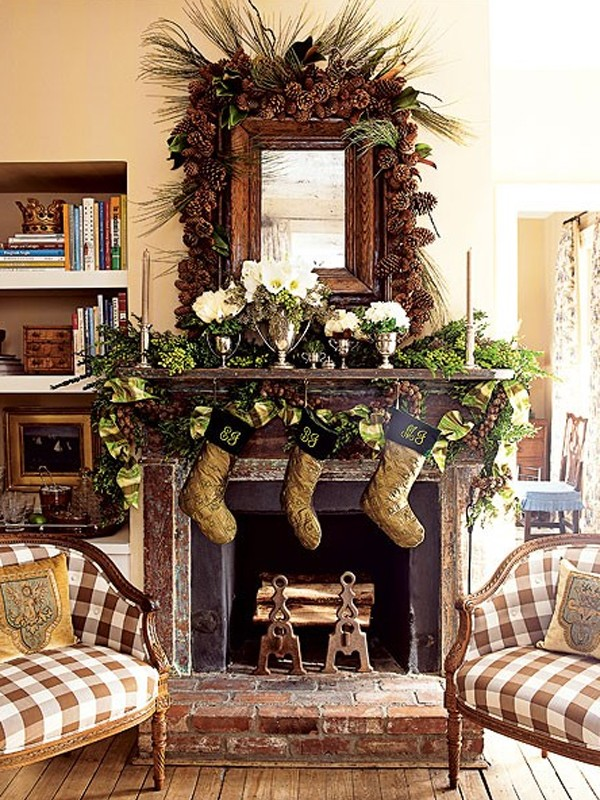 Charming Christmas Room Decoration With Fireplaces Design 600x800
