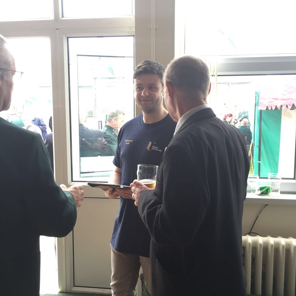 Mr Martin Robinson (PhD Student) photographed discussing the project with veterans at Old Soldier's Day, Belfast.