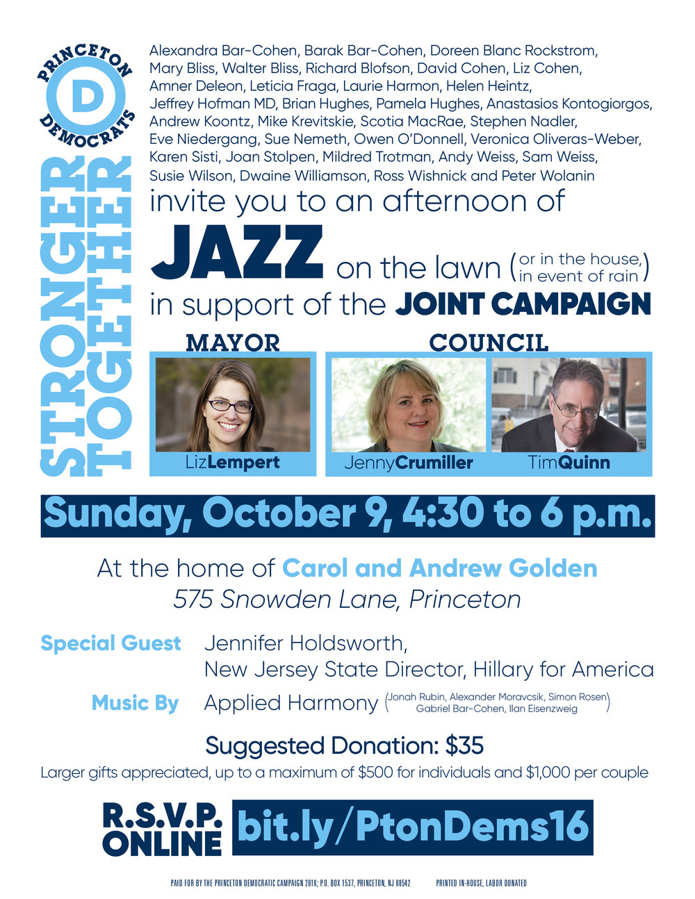 Pay at the door, or mail checks to: Princeton Democratic Campaign 2016: PO Box 1537, Princeton, NJ 08542.