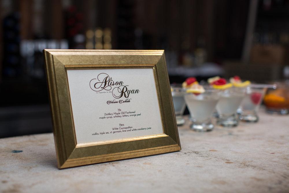Bar Menu Signage by Junebug Events