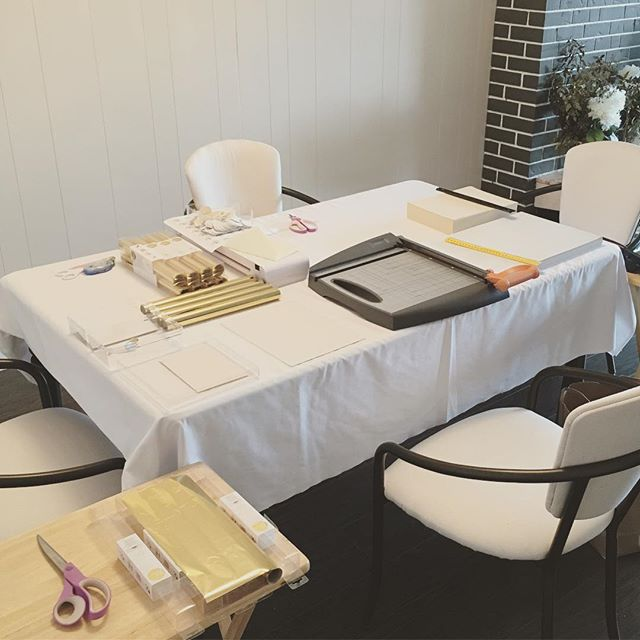 All set up for my bridal invitation workshop this weekend. A unique experience for my brides to-be to see the details that goes into creating their wedding invitations 💕