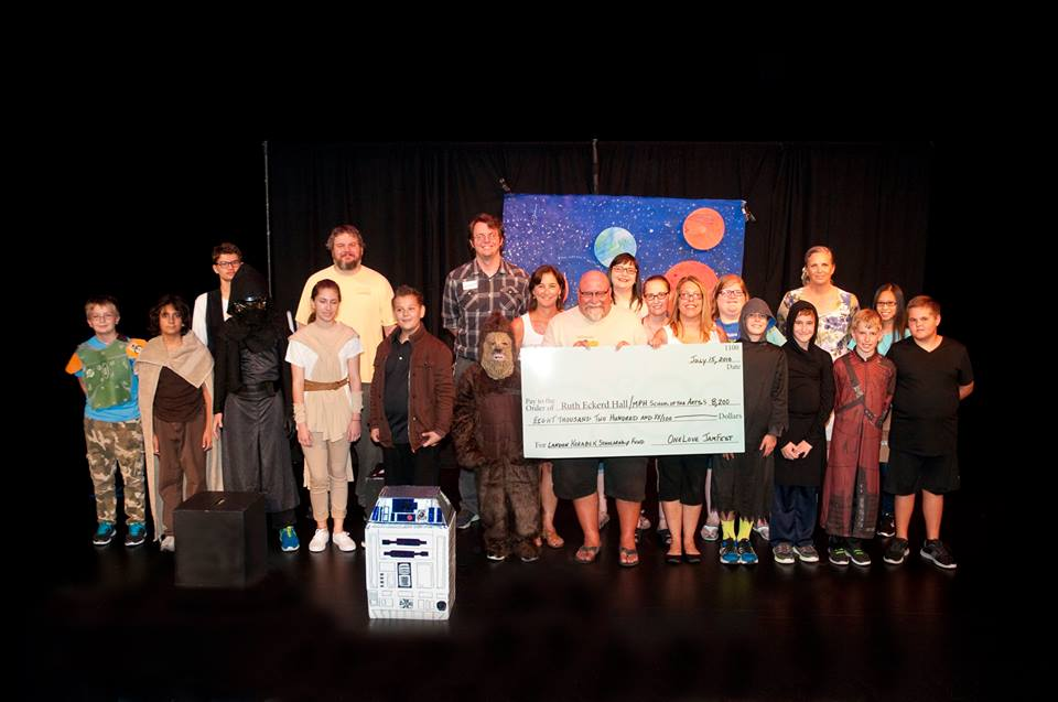 Presenting the donation to the Marcia P. Hoffman School of the Arts, Ruth Eckerd Hall (and joined by Star Wars summer campers)
