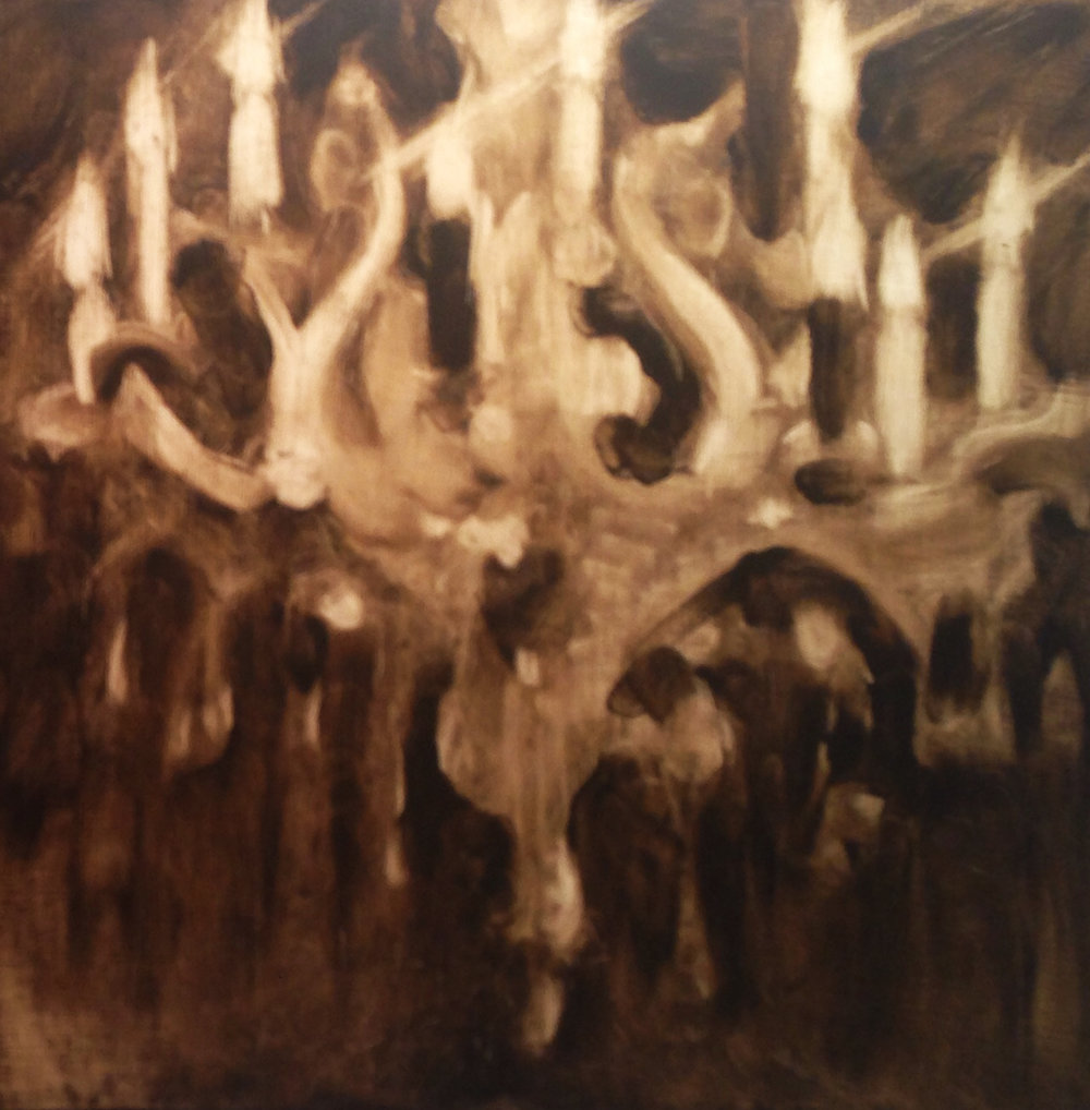 Oil sketch of Chandelier. Sorry for the poor image, it was late!