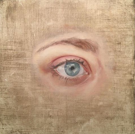 Amsterdam Ave. Reflected In Johanna's Right Eye 6 x 6 in. Oil on board 365painting2016 #85