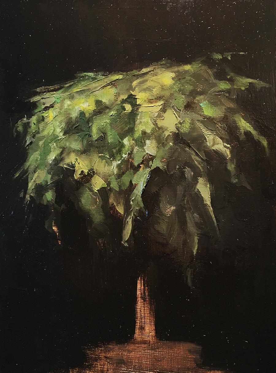 Spike Moss- Painting #115 Oil on board 5 1/4 x 8 in.