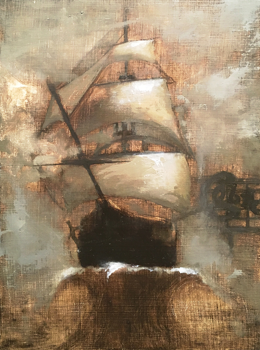 Ghost Ship, For Oakland- Painting #116 6x8 in. Oil on board.