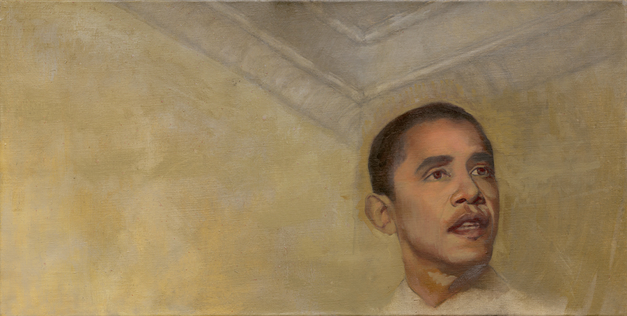 Obama In My Studio (Post election/Pre Inauguration), Oil on canvas. In Private Collection.