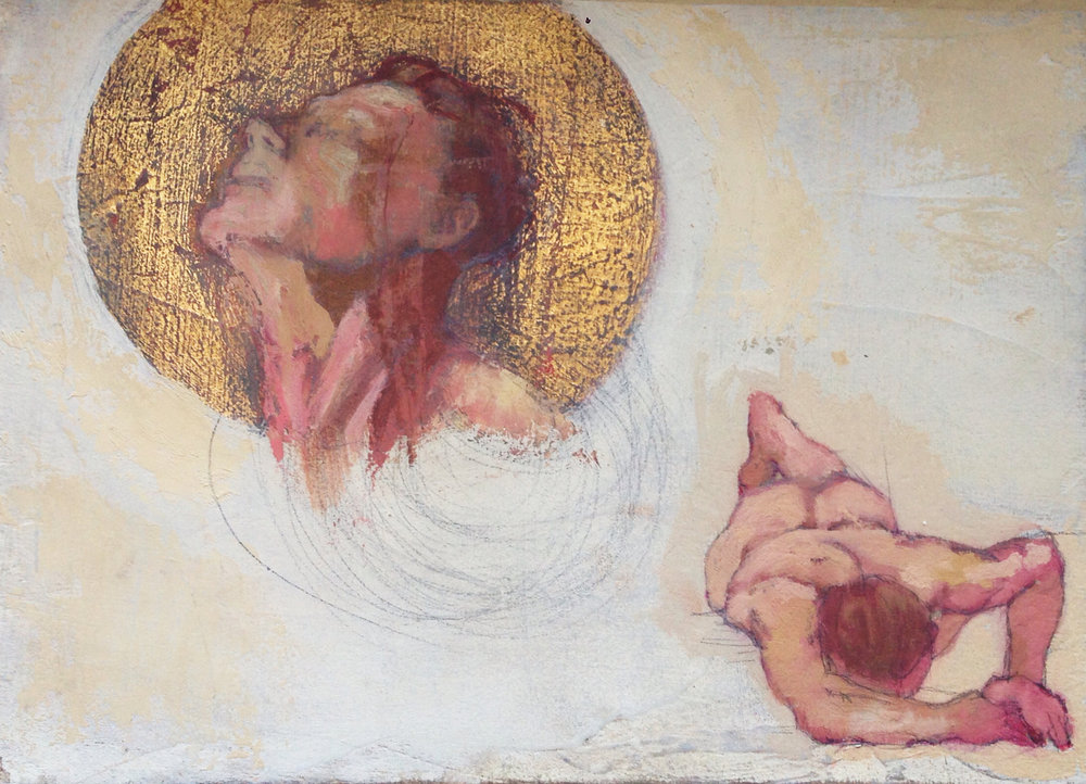 Glutton Free Study 5 x 7 in. Oil, pencil and gold leaf on board. 3/6/2016