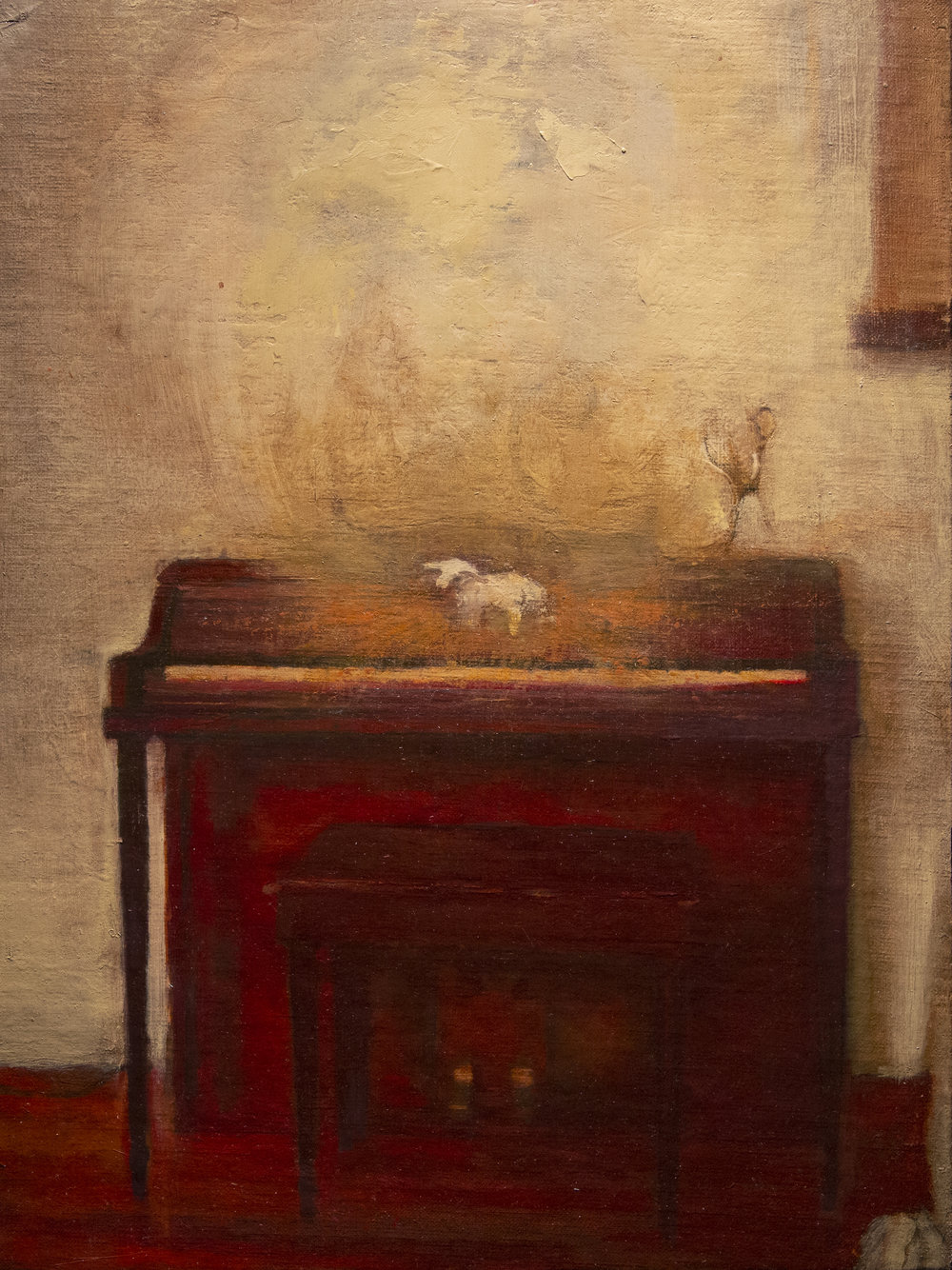 Piano, 8.75 x 11.5 in. Oil on canvas mounted to board.