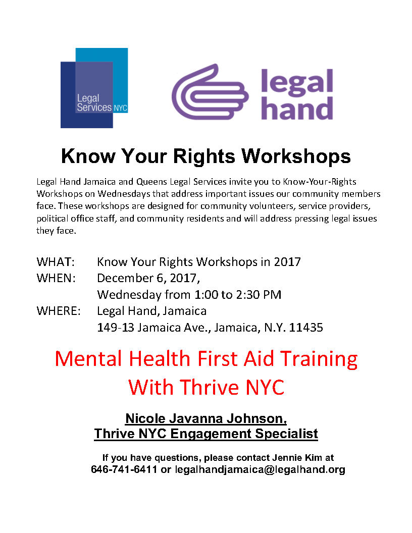 Mental Health First Aid Training With Thrive Nyc Legal Hand Jamaica