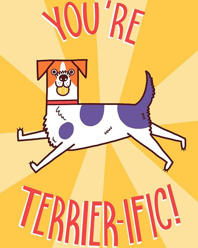 Hope your Tuesday is Terrier-ific! . #illustration #illustrator #jackrussellterrier #terrier #photoshop #digitalart #art #create #dogsofinstagram #dog #illustratorsoninstagram #artistsoninstagram #artist #card #motivation #thankyou #dogs #yellow #graphic #design #designer #freelance