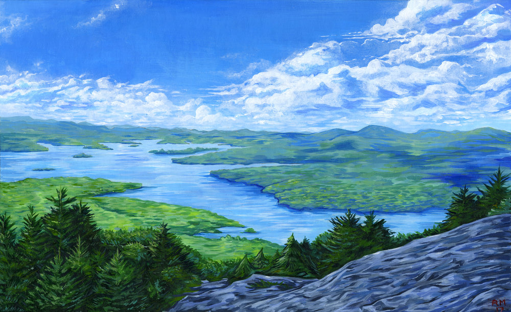 "View from Mt. Major, in New Hampshire. 10""x14"" acrylic. 2017"