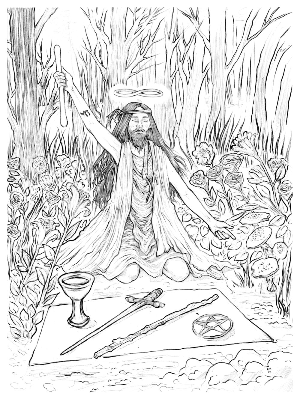 The Magician. Work in progress for a Tarot project. 2017