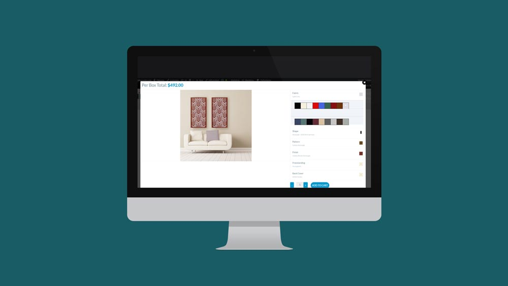 Product Visualizer allows customers to choose from a variety of colors, finishes, patterns, and shapes.