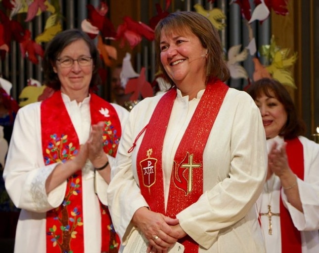 Bishop Karen Oliveto after being elected in July 2016.