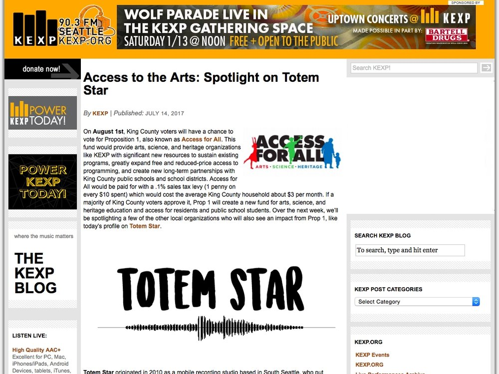 Access to the arts: spotlight on totem star - By KEXPJuly 14, 2017