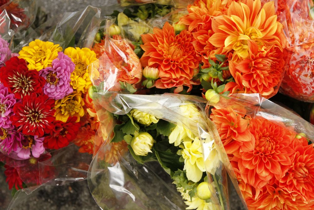 "To Mieke's delight the farmers market abounds with locally grown flowers. ""I adore many a flower, but I never seek any particular kind out. I like seeing what is available, what looks fresh and beautiful that day, and what will go well with my table. Today I picked boldly saturated dahlias, but I love muted, more sedate tones as well"" she gushes."