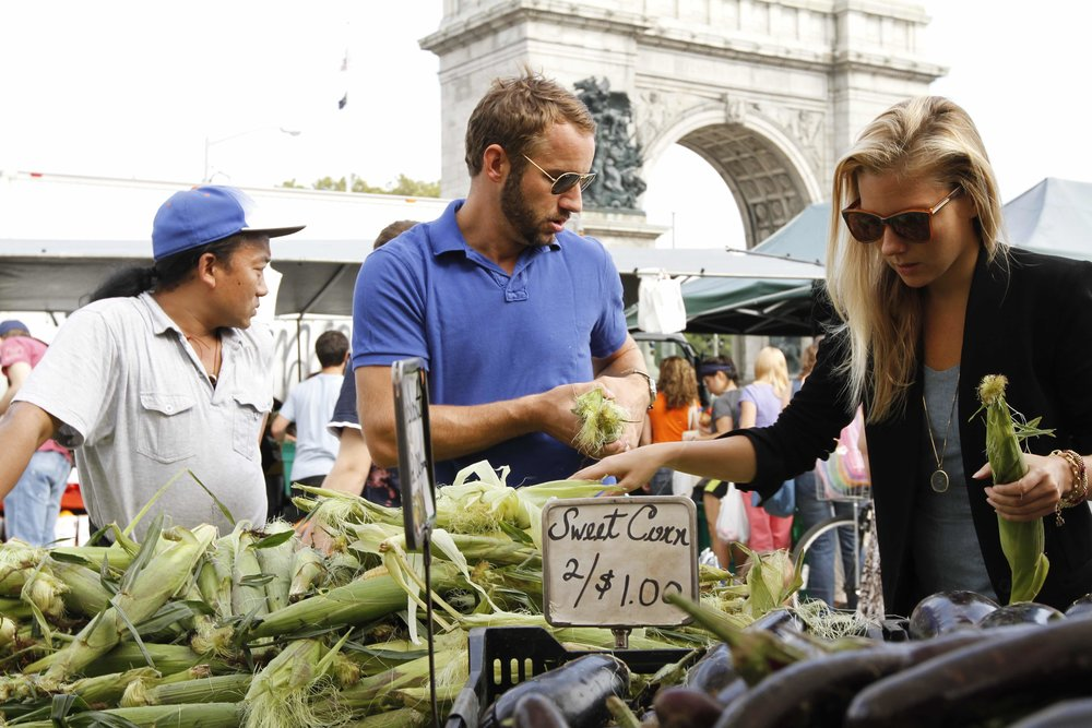 "Tyler on how to choose your vegetables _ ""It's easy to buy corn without pulling back the husk. First look for tassels that are brownish and stick. You want entire husk to be moist. If the tassels are dry and the husk is papery, then it's an old ear. Make sure to feel the kernals through the husk and make sure they are all there and that they're firm and plump."""