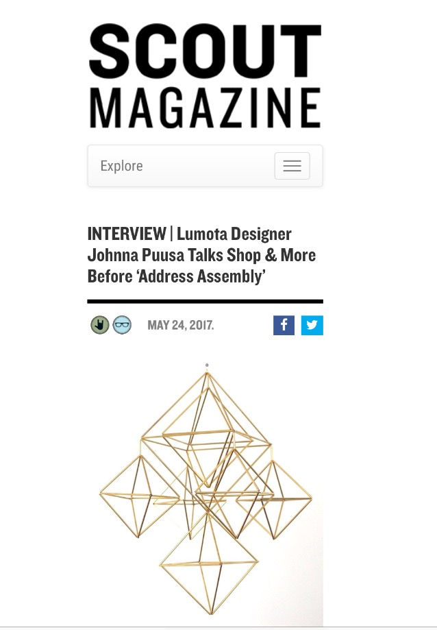 Check out Scout Magazine this week for an in-depth interview with Lumota's own Johnna Puusa   Click this link to read more....
