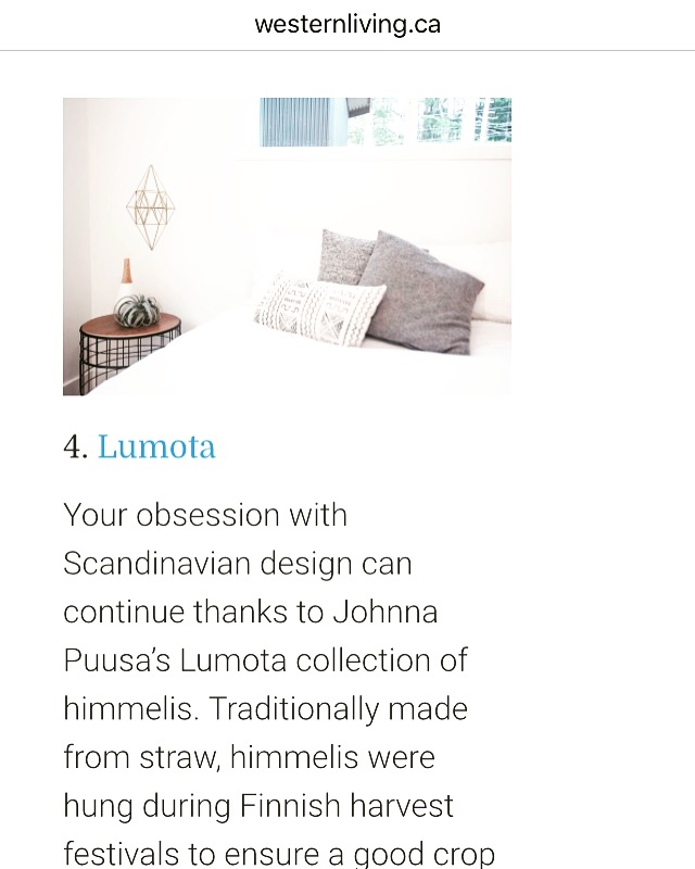 Lumota was so happy to be included in Western Living Magazine's List of 5 Makers to Watch in the May 2017 issue. Click  here  to see the whole list!