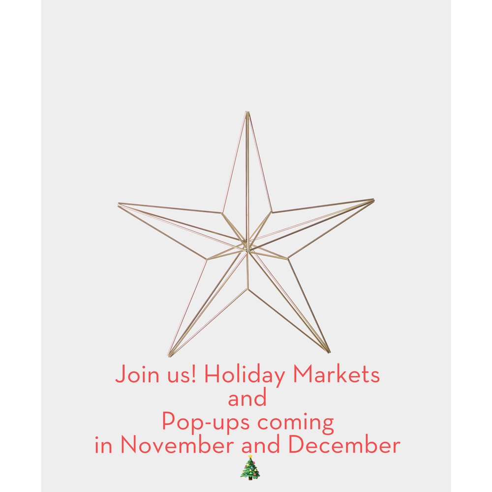 November-December Salt Shop Pop-Up at Uptown, Victoria BC  November 24-25 Craft Cartel, The DaVinci Center, 195 Bay St, Victoria BC  December 1-2 Owl Designer Fair, Fernwood NRG, 1240 Gladstone Ave, Victoria BC  Dec 1-3 Object + Handmade, The Aviary, 637 East 15th Ave, Vancouver BC  December 16 Boreal Collective, The Hub 2375 Koksilah Rd., Cowichan Station