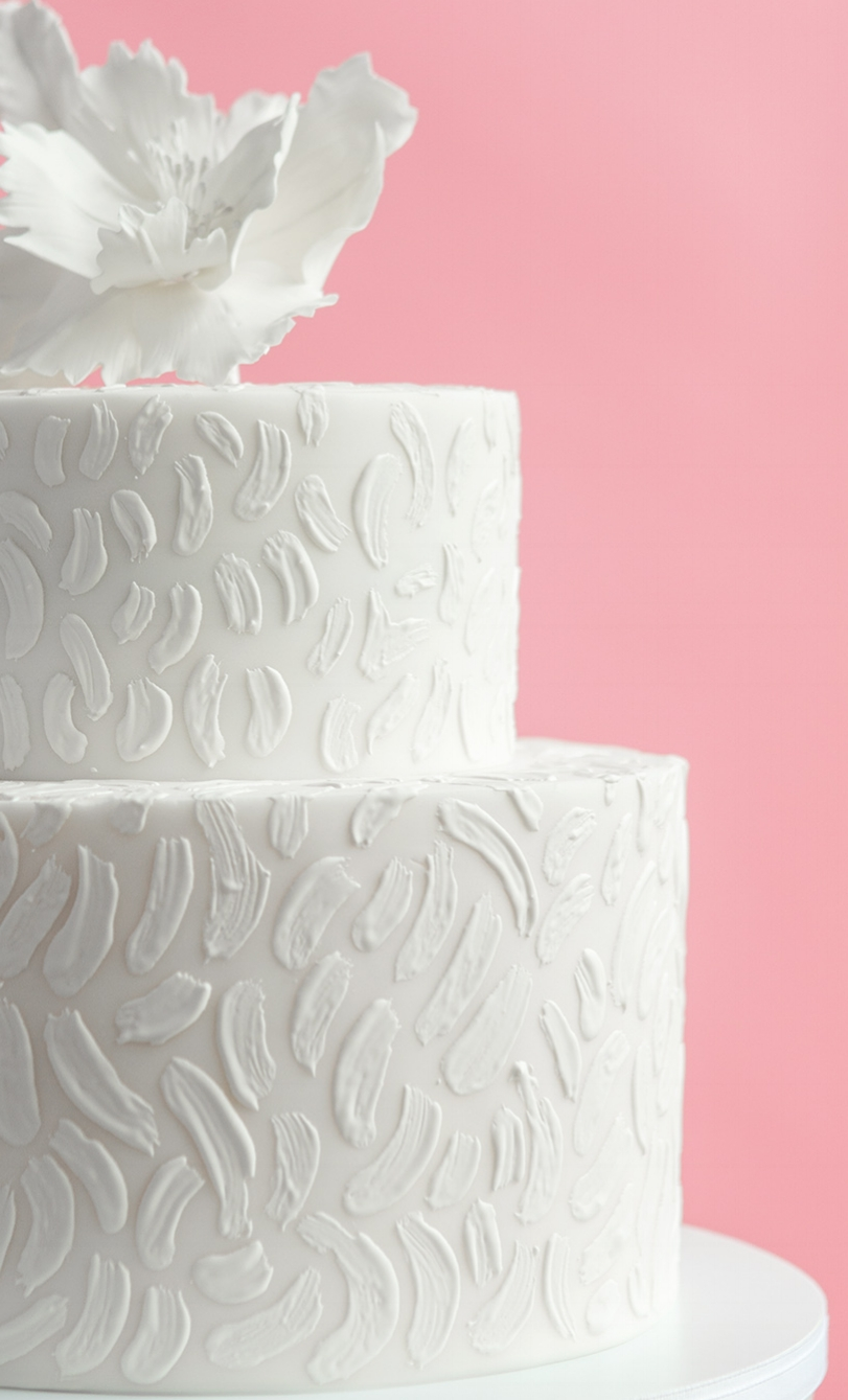 Painterly Brush Stroke Wedding Cake, White