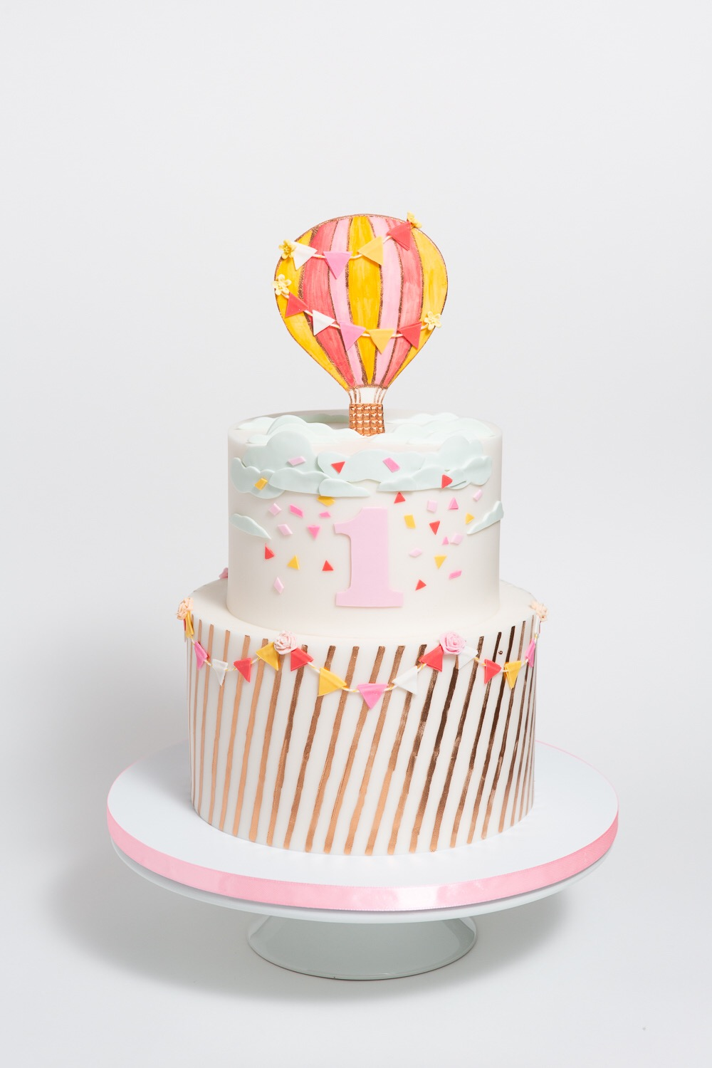 Hot Air Balloon Rose Gold Baby Shower Cake