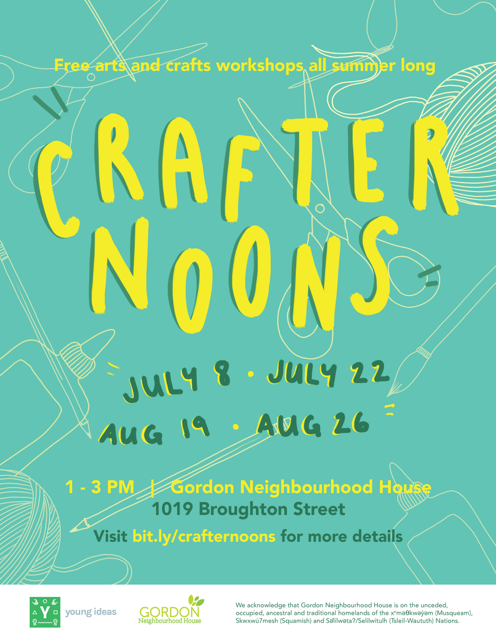 "For Young Ideas at Gordon Neighbourhood House's event series, ""Crafternoons""."