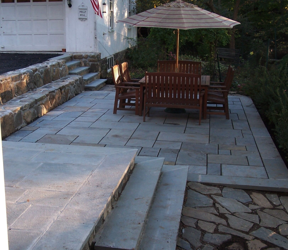 Copy of landscape design natural stone and steps with patio Westchester County, NY