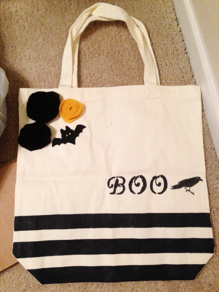 My crow stamp worked better on this bag!