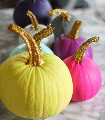Painted Pumpkin with Glitter Stems