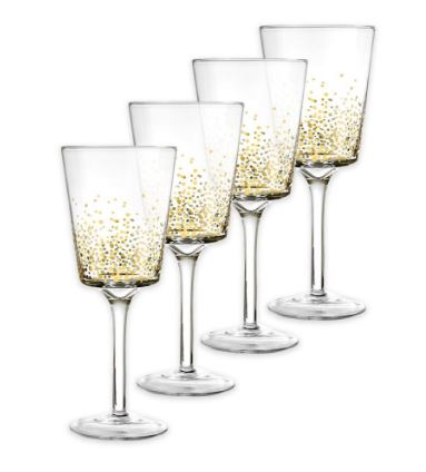 Set of 4 - Gold Luster White Wine Glasses