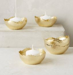Anthropologie Hammered Gleam Tea Lights