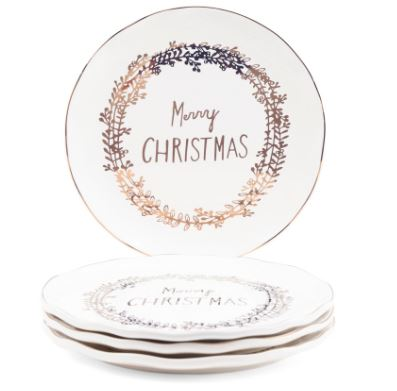 4pk Metallic Merry Christmas Plates