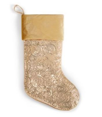 Holiday Lane Gold Sequined Stocking