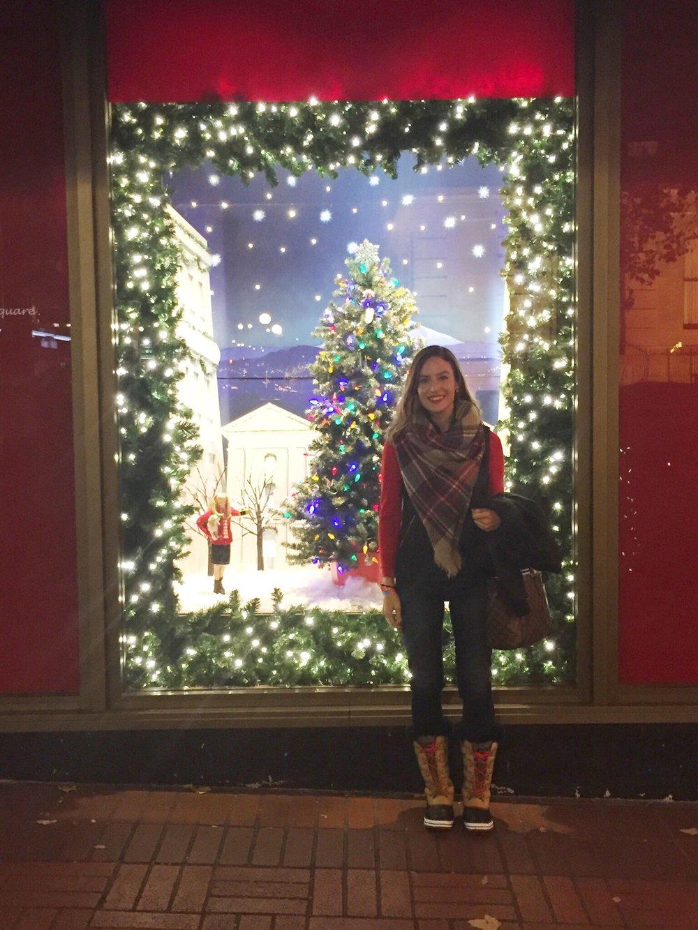 Macy's Christmas window in Portland, OR