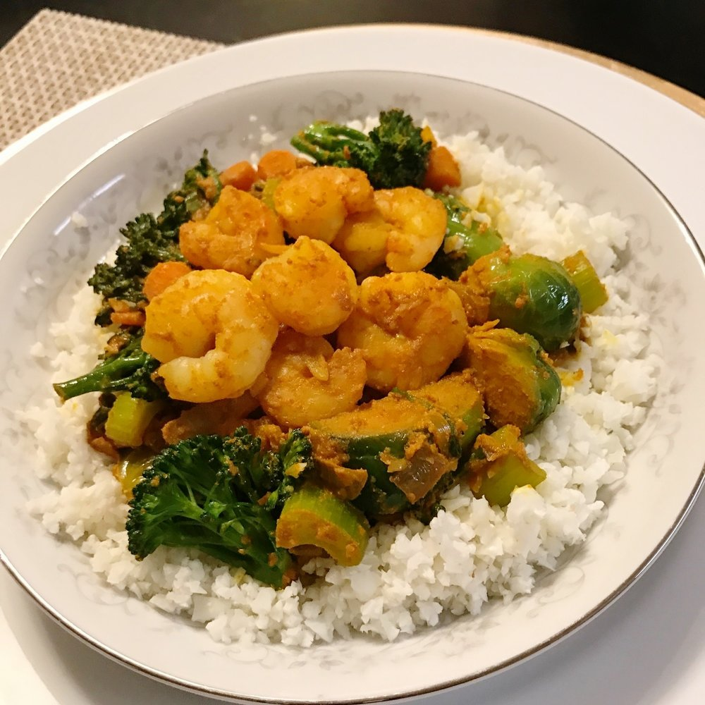 Paleo/Whole 30 Turmeric Shrimp Stir Fry