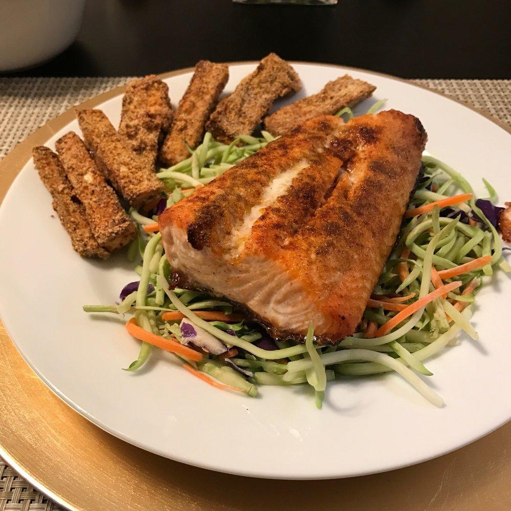 Salmon with Avocado Mango Salsa - Paleo & Whole 30