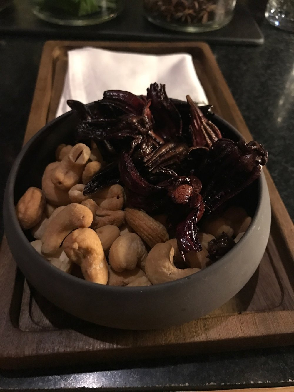 Cashews and Fried Hibiscus at Bar A-Kan