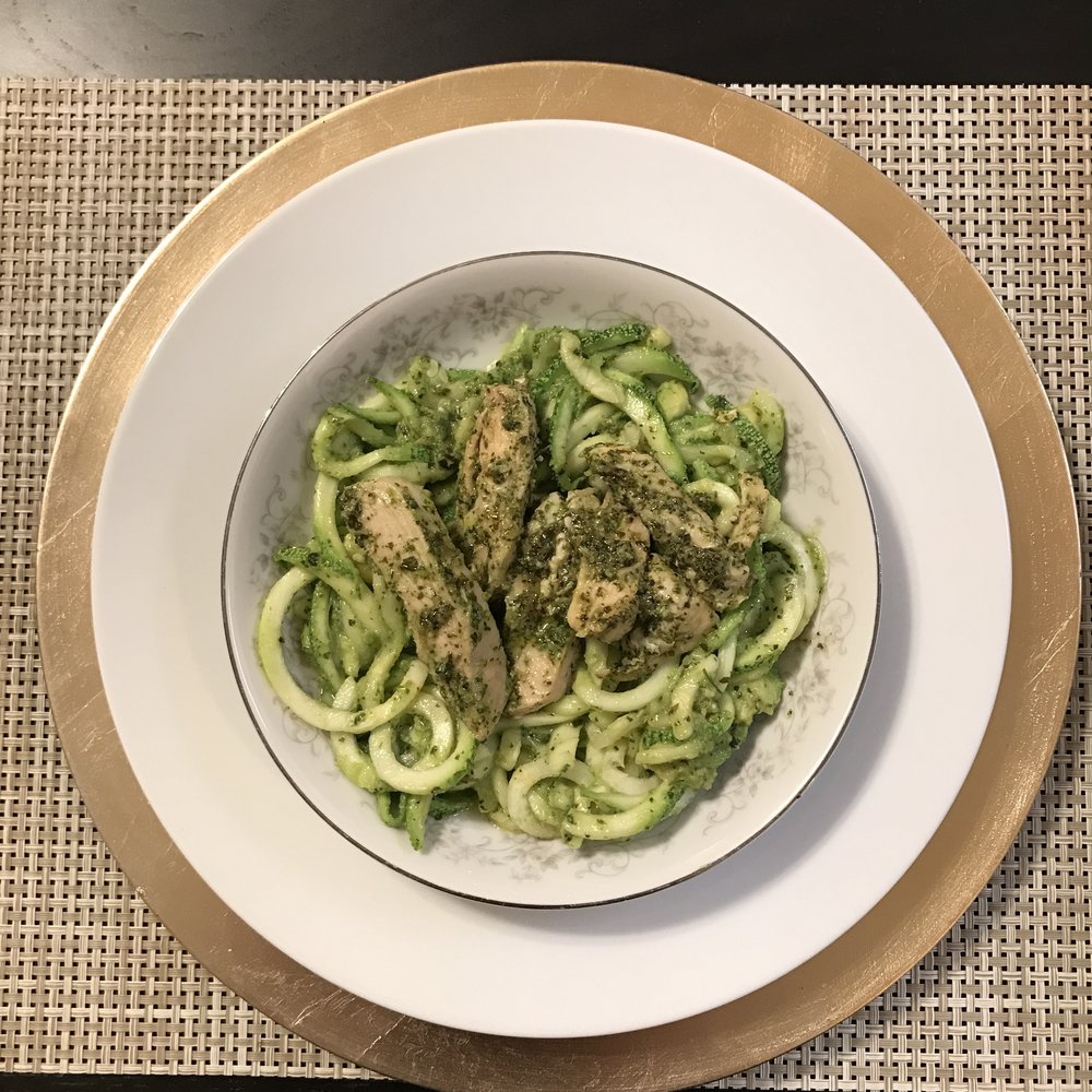 Spiralized Calabaza Squash with Pesto & Chicken - Paleo & Whole 30
