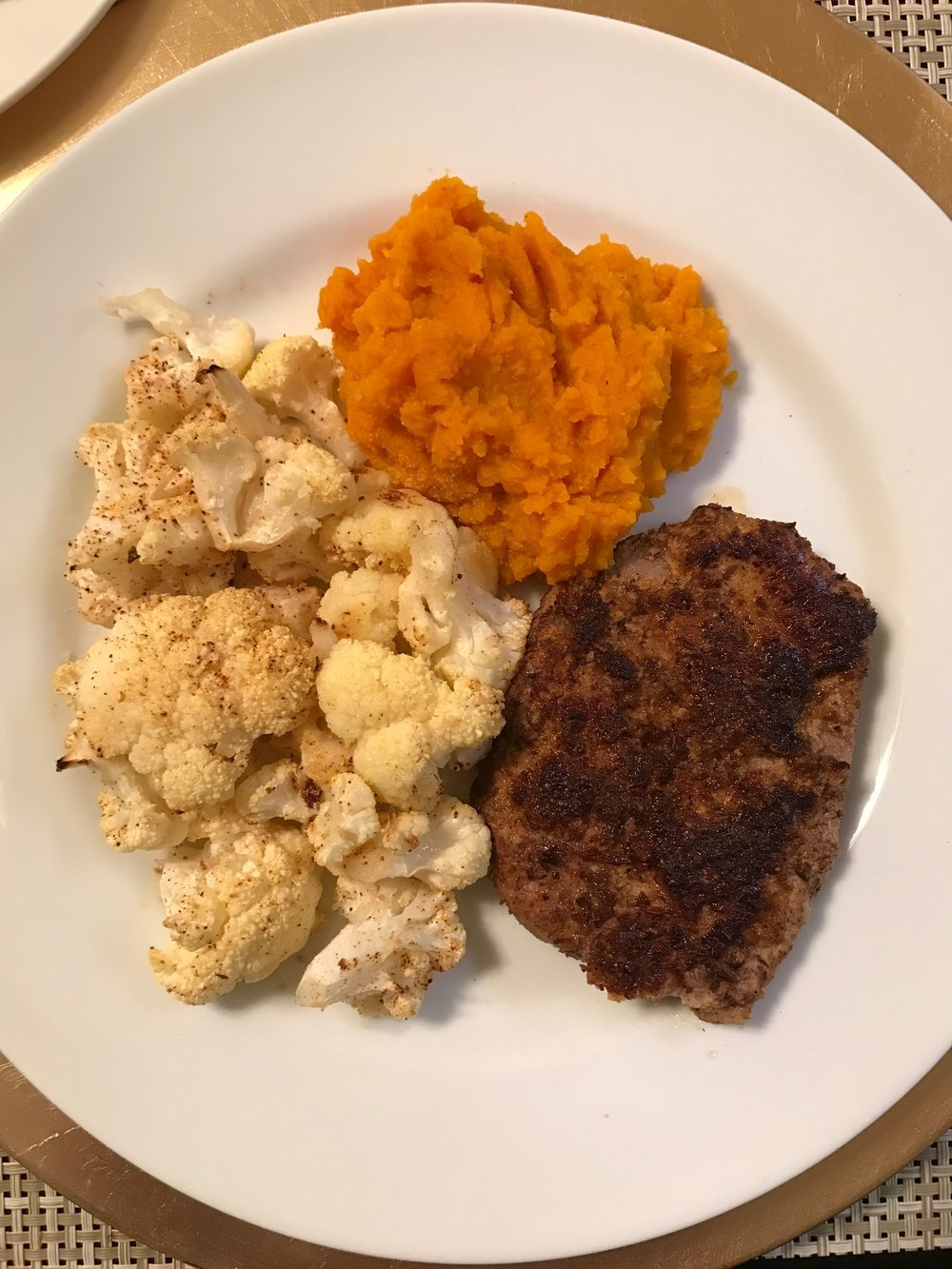 Breaded Thin Steaks with Roasted Cauliflower & Butternut Squash Mash - Paleo & Whole 30