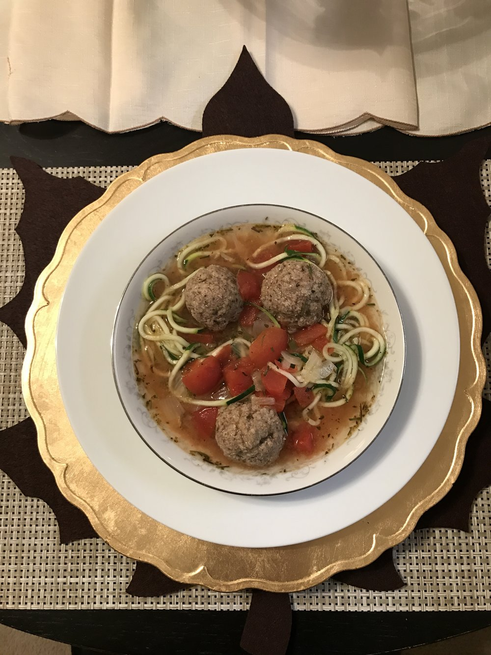 Turkey Meatball Soup w/ Zucchini Noodles - Paleo & Whole 30