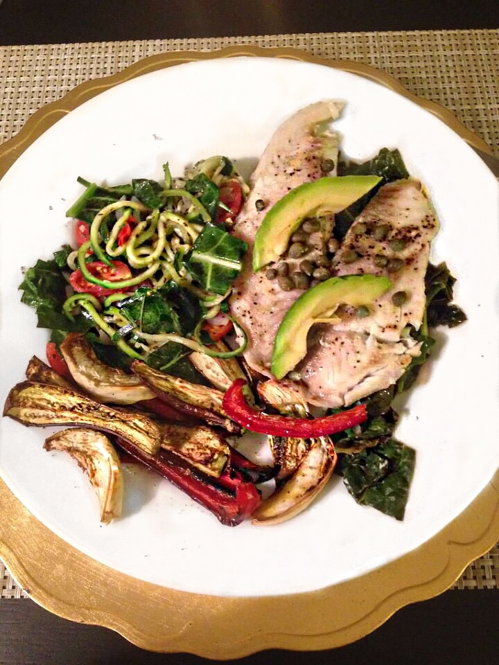 Baked Fish w/ Kale & Spiralized Cucumber Salad and Roasted Vegetables - Paleo & Whole 30