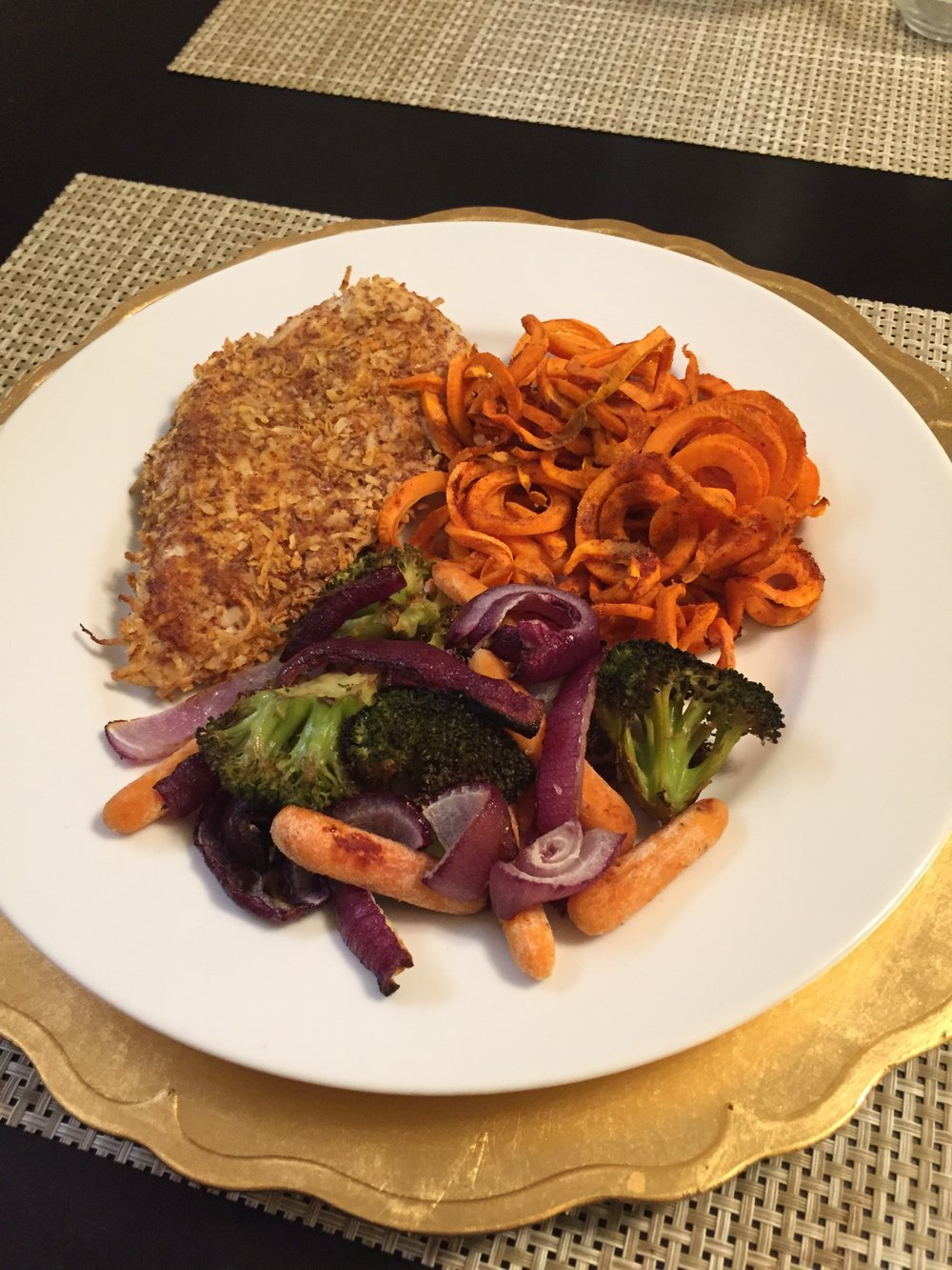 Coconut Crusted Chicken w/ Spiralized Sweet Potatoes & Roasted Vegetables - Paleo & Whole 30