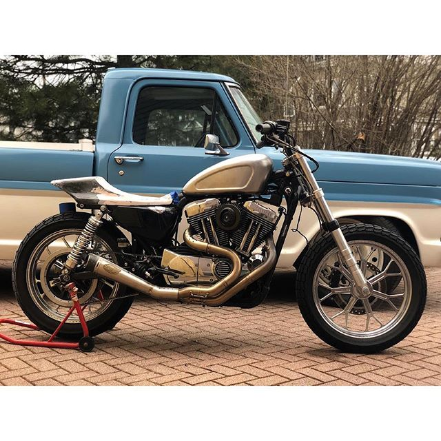 @whiskymotoco / @jhodro just removed the curtains from his next build! Custom sportster with 19inch RSD wheels, custom carbon seat, one of a kind custom tank along with a ton of other insane machined bits. (Look at the sick forks) Can't wait to see the end of this!