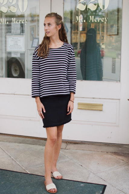 Top -  Everlane   Skirt - Madewell (Similar at  Urban Outfitters )  Slides - Gap ( fall upgrade )