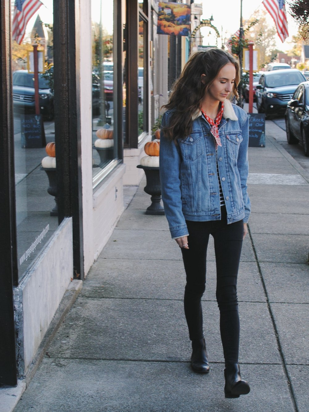 Jacket - Levis Top - Everlane Neck Scarf - Madewell Jeans - Urban Outfitters Boots - Target